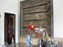 Kitchen log wall